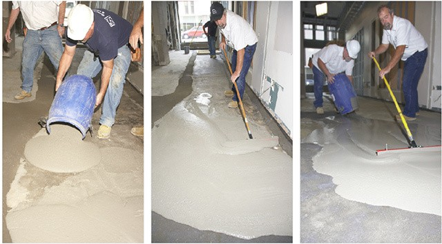 Floor leveling compound over concrete carpet review for Concrete floor leveling