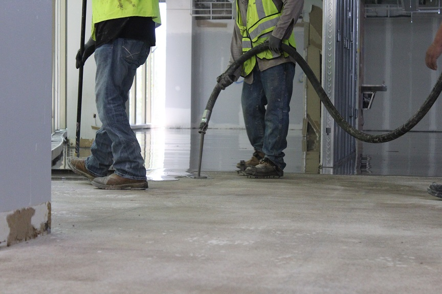 Concrete subfloor areas without residual substrate materials or complicating issues were covered with Schönox XM, cementbased, self-leveling compound, which provides a cost-effective application.